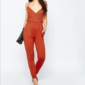 ASOS  Orange Cami Wrap Front Jersey Jumpsuit